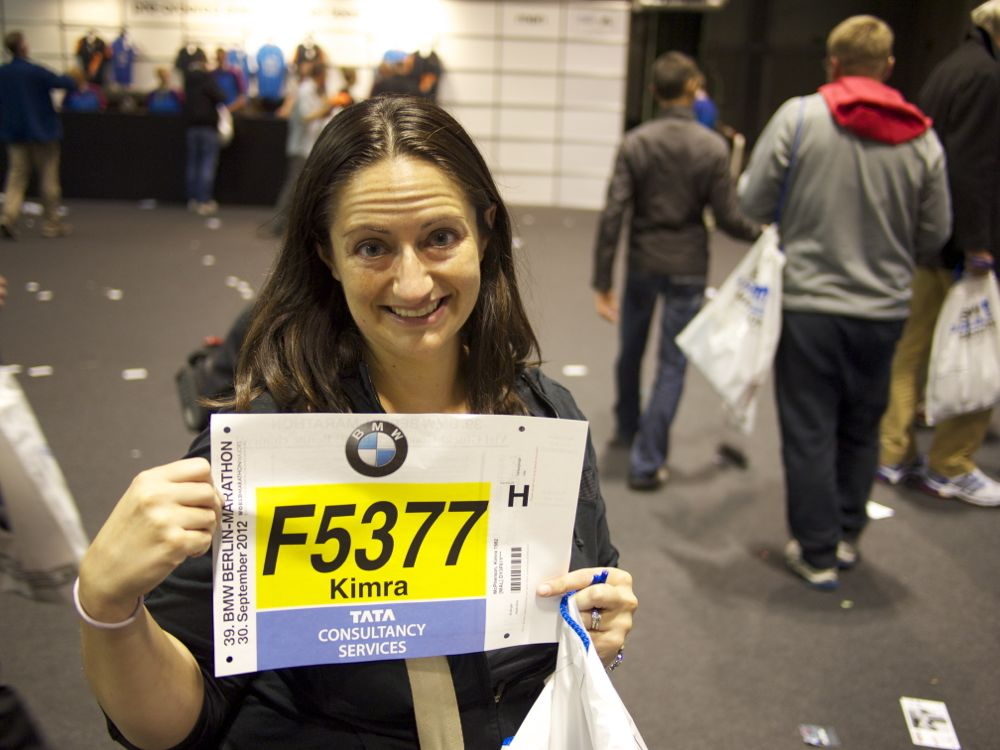 "Picking up my race packet. That's my ""what-have-I-done?"" face."